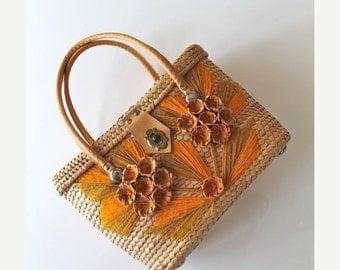 SHOP SALE vintage straw purse - SUNRAY woven souvenir bag