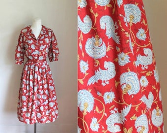 vintage 1960s novelty print dress - FIREBIRD bird print shirtwaist dress  / M-L