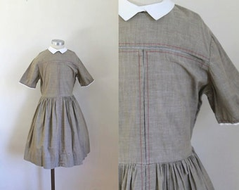 vintage 1950s little girl's dress - JANE taupe peter pan collar dress / 10-11yr