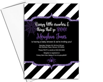 Halloween baby shower invitation girls | purple black white stripes | halloween invitations | spider web | printable or printed - WLP00756