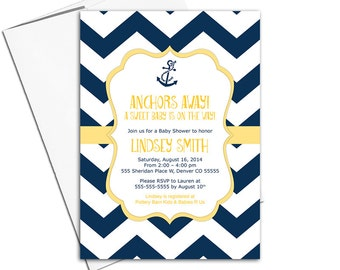 Nautical baby shower invites neutral | navy and yellow chevron with anchor | printable or printed - WLP00793