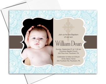Baby boy christening invitation | Etsy AU