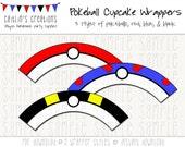 Printable Pokeball Cupcake Wrappers - Instant Download - Pokemon, Pokeballs - DIY, Printable, Party decor