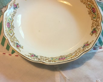 Vintage Soup or Salad Bowl Dainty Floral Mount Clemens Pottery Made in The USA #3826
