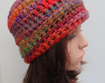 Funky Chunky Beanie Hat Mulitcolor Womens Hat Crochet Hat Hand Crocheted Hat Wool Crochet Beanie Hat Handmade in Ireland