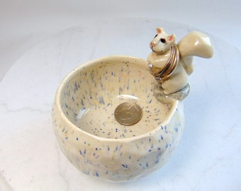 Squirrel Pottery Bowl - Nut Bowl - Food Safe - Small Planter - Trinket Bowl - Condiment Dish - Ring Holder - White on White