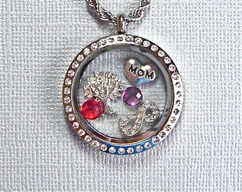 Mom locket necklace, you choose charms, floating charm jewelry, stainless steel twist top tree of life memory locket, keepsake gift for Mom