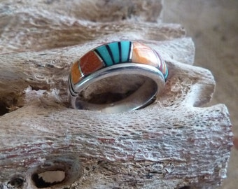 Multi Stone Turquoise Band, Inlay Sterling Ring, Spiny Oyster Signed Band, Southwestern Jewelry