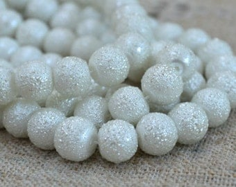 33pcs 12mm White Glass Pearl Bead Textured Round 16 in Strand