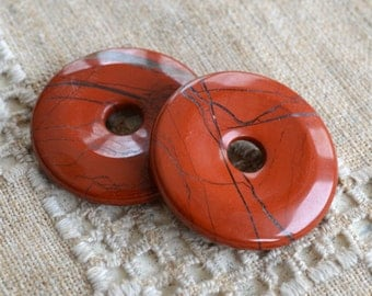 2pcs Red Jasper 40mm Donut Beading Component
