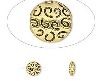 10pcs Metal Beads Gold 6.5mm Flat Round Coin Pewter