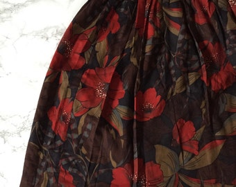mountain ash red azaleas skirt / 60s mini skirt / flouncy skirt