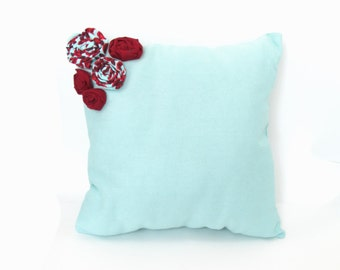 Robins Egg Blue and Vintage Red Rose Rossette Accent Pillow