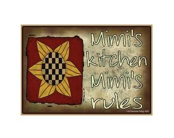"Mimi's Kitchen, Mimi's Rules Sunflower Funny Grandmother Fridge Refrigerator Magnet 3.5"" X 2.5"""