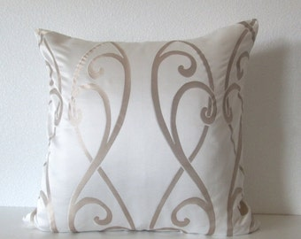 ON SALE Scroll pearl white champagne decorative throw pillow cover