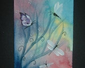 dragonflies and butterflies aceo art painting ref 240