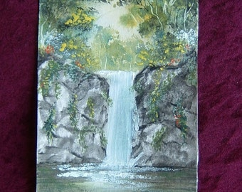 waterfall original art painting mixed media (ref 377)