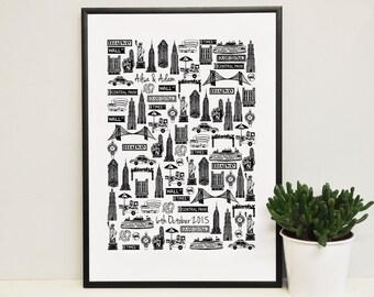 Personalised New York Wedding Print - New York Anniversary Print- New York print - New York illustration - New York wedding gift