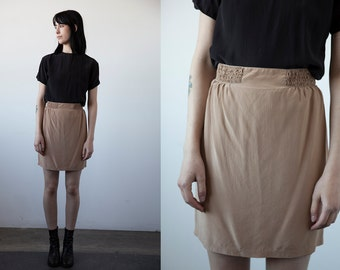 Vintage SILK Nude Blush Pink Mini Skirt Simple Minimalist Minimal High Waist XS-S