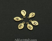 ON SALE Add On Jewelry Charms. Personalized Gold Leaf, Hand Stamped Initial, with jump ring, Christmas Gift