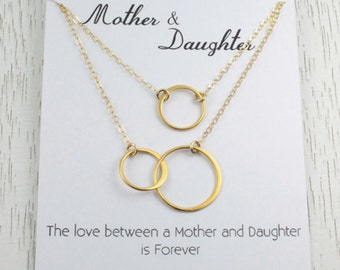 Mother Daughter Necklace Set/Eternity Necklace/Interlocking Double Circle Link/Mother Daughter Necklace/24K Gold Vermeil/ Silver/Infinity