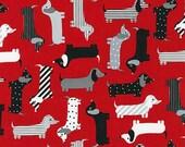 Urban Zoologie Dachshunds on Red - Ann Kelle for Robert Kaufman