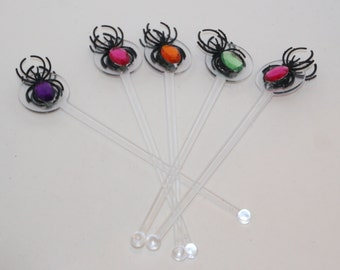 Halloween Bling Spider Drink Stirrers Swizzle Sticks Acrylic Double Sided Set of 5