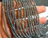 Crystal faceted rondelle - 145 pcs - 18 inch strand - 4 mm - A quality - grey ab - YAZ1