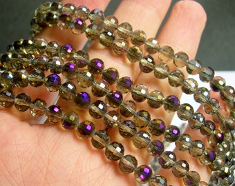 Crystal - round faceted 6mm beads - 100 beads - 26 inch strand - smoky purple ab - AA quality - CRV51