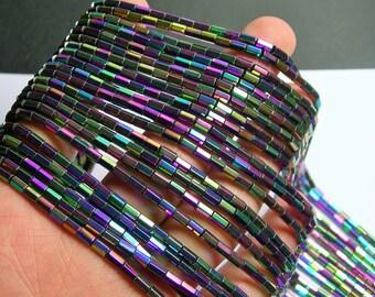 Hematite Rainbow - 5mm tube hexagon beads -  full strand - 82 beads - AA quality - mystic rainbow -  PHG240