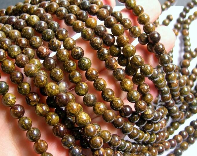 Bronzite - 6mm round beads -1 full strand - 61 beads - A Quality - RFG753