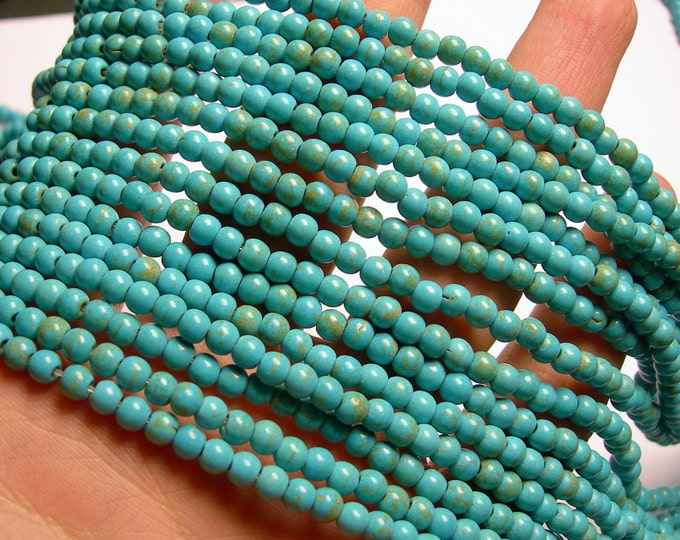 Turquoise Magnesite - 4mm beads -  full strand - 104 pcs - A Quality - RFG909