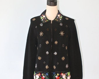 SALE Vintage Ugly Christmas Sweater / Tacky Black Christmas Party Kitsch Knit Sweater / Snowmen Beads Sequins Snowflakes / Large