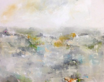 Neutral Abstract Landscape Original Painting -Winter Mountain 24 x 30