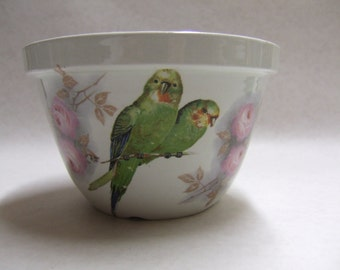 Vintage Parakeet Bowl - Pottery Bowl with Birds - Green Parakeets - Love Birds - Pink Roses - Made in England - Utilitarian - Collectible
