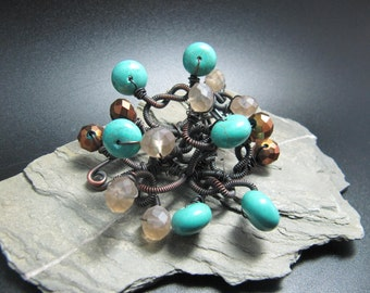 Handmade copper and jade brooch, corsage, shawl pin