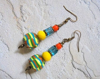 Orange, Yellow, Aqua, Green and Brass Earrings (2859)
