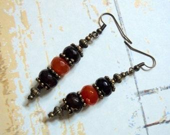 Brown, Orange and Brass Rustic Boho Earrings (3065)