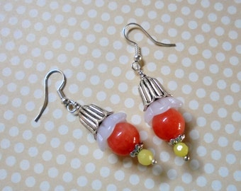 Peach, Yellow and White Flower Bud Earrings (2554)