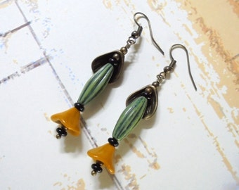 Green and Mustard Yellow Flower Earrings (2660)