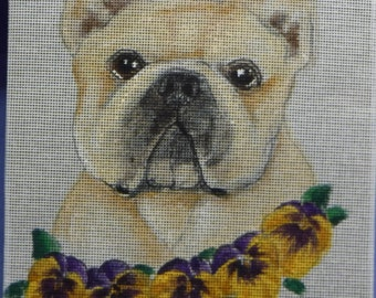 French Bulldog Needlepoint Hand Painted Canvas