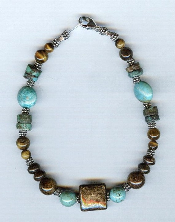 Turquoise, Tiger Eye and Bronzite Gemstone  with Bali Silver Bracelet - Anklet