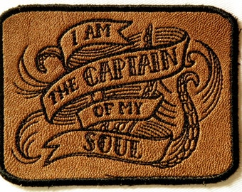 "Captain of My Soul on Patch on Cowhide Leather 4"" x 3"""