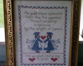 """Sampler Friendship Vintage Framed Cross Stitch Needlepoint Sampler about Friendship Ornate Frame Old Friends are best 18 x 15"""""""