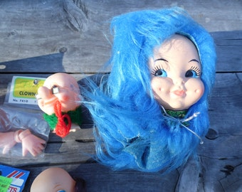 """Doll crafting lot of 8 pieces doll heads, clown heads, plastic head on wire 7 1/2"""" plastic doll made Hong Kong Western Craft Fibre Craft"""