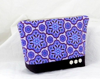 Accessory Pouch, Handmade Accessory, Purple and Plum, Zuzu's Petals, Cosmetic Bag, Clutch Purse, Shower Gift, Bridesmaid Gift