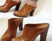 Italian 70s tan leather high heels hippie boho cloggs