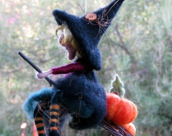 Halloween witch with Pumpkins Needle felted Art doll Soft sculpture Mobile