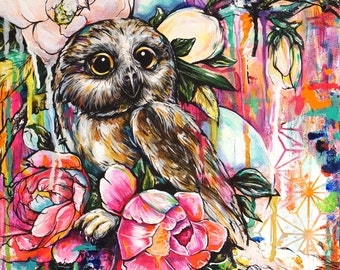 Owlie Owl - 11x11 Giclee Fine Art Print Archival Rainbow Bird and Roses Saw Whet Owl Nature Illustration Colorful Bright Happy