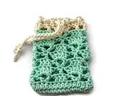Crochet Soap Saver - Crochet Soap Bag -  Cotton Soap Sack - Aqua with Cream Border